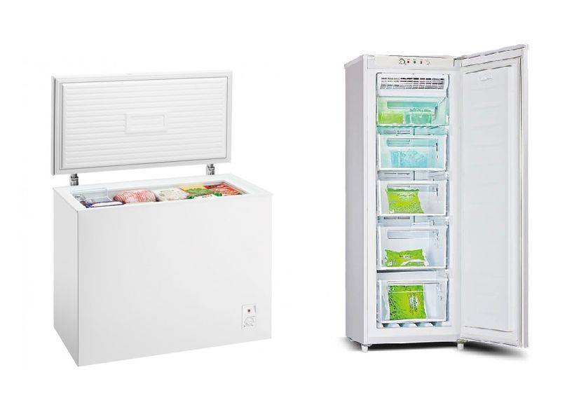 A side by side of a chest freezer and an upright freezer