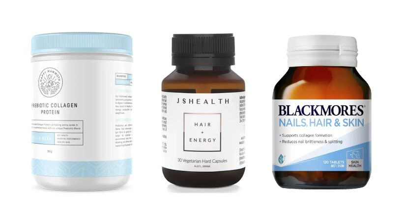 Product images of the Happy Mammoth Prebiotic Collagen Protein, the JSHealth Vitamins for Hair + Energy, and the Blackmores Nails, Hair, and Skin.