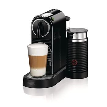 A product image of a black De'Longhi Nespresso Citiz machine with a frothy coffee on it.