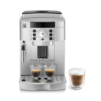 A product image of the De'Longhi Magnifica stainless steel coffee machine.