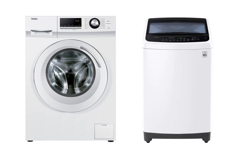 A side by side of a front loading washing machine and a top loading washing machine