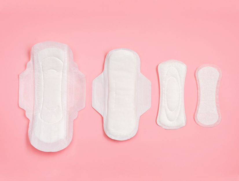 Four pads lined up in a row; the left two are larger and have wings while the right two are smaller and don't have wings
