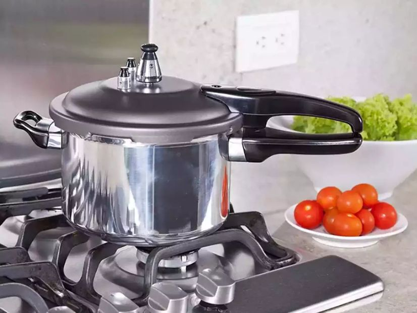 A stovetop pressure cooker