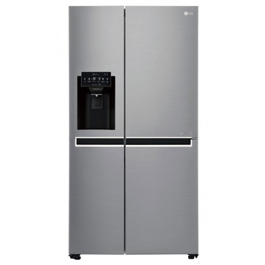 grey side by side fridge with black water filter