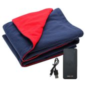 Newtton USB Heated Fleece Blanket With Phone Charger Power Bank